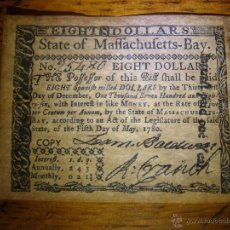 Reproducciones billetes y monedas: FACSIMILE - BILLETE COLONIAL - 1780 - EIGHT $ DOLLARS - STATE OF MAFFACHUFETTS-BAY.. Lote 40697713