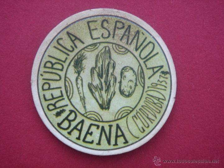 CARTÓN MONEDA LOCAL DE BAENA (CÓRDOBA) -TIMBRE MÓVIL- CON SELLO 10 CÉNTIMOS DE LA II REP (Numismática - Reproducciones)