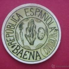 Reproducciones billetes y monedas: CARTÓN MONEDA LOCAL DE BAENA (CÓRDOBA) -TIMBRE MÓVIL- CON SELLO 10 CÉNTIMOS DE LA II REP. Lote 40734624