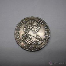 Reproducciones billetes y monedas: 8 REALES DE 1772, CECA DE SEVILLA , REY CARLOS III. COPIA EN METAL. Lote 40770979