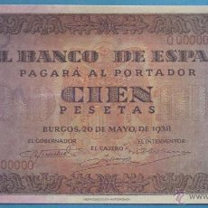 Reproducciones billetes y monedas: BILLETE FACSÍMIL. COLECCIÓN BILLETES DEL FRANQUISMO. 100 PESETAS BURGOS 20 MAYO 1938. Lote 48346075