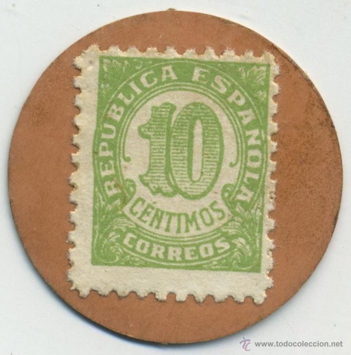 SELLO MONEDA DE 10 CÉNTIMOS. REPÚBLICA ESPAÑOLA. CARTÓN (Numismática - Reproducciones)