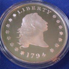 Reproducciones billetes y monedas: MONEDA CONMEMORATIVA DE 1 DOLLAR PLATA ESTADOS UNIDOS LIBERTY 1794. Lote 57314554