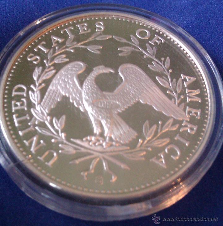 Reproducciones billetes y monedas: MONEDA CONMEMORATIVA DE 1 DOLLAR PLATA ESTADOS UNIDOS LIBERTY 1794 - Foto 2 - 57314554