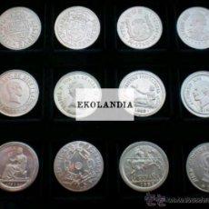 Reproduções notas e moedas: REPLICA EN PLATA 800 EKL 12 MONEDAS LA HISTORIA ESPAÑA DESDE FELIPE IV A LA PESETA DE JUAN CARLOS I. Lote 215916128