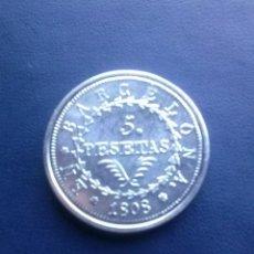 Reproducciones billetes y monedas: 5 PESETAS DE BARCELONA REPRODUCCION. Lote 43122599