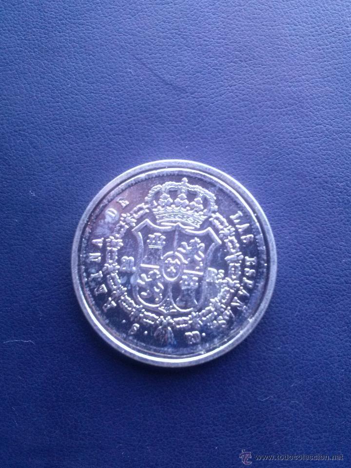 Reproducciones billetes y monedas: MONEDA DE ISABEL II 20 REALES - Foto 2 - 43122877