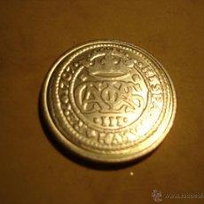 Reproducciones billetes y monedas: CARLOS III - AÑO 1707 - REPRODUCCION CON BAÑO DE PLATA. Lote 43751110