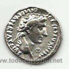 Reproducciones billetes y monedas: MONEDA ROMANA REPRODUCCION DE DENARIO DE AUGUSTO. Lote 182366745