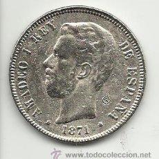 Reproducciones billetes y monedas: MONEDA CONTEMPORANEA 5 PESETAS DURO DE AMADEO I REPRODUCCION . Lote 44135582