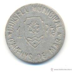 Reproducciones billetes y monedas: H- UNA PESETA AYUNTAMENTO ARENYS DE MAR COPIA ANTIGUA IDEAL PARA TAPAR EL HUECO. Lote 44254516