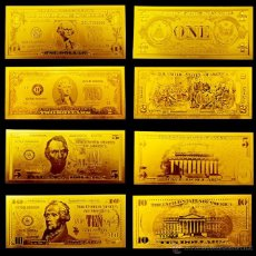 Reproducciones billetes y monedas: DOLARES EN ORO - BANK NOTES IN GOLD - DOLAR IN GOLD - BILLETES EN ORO. Lote 44667722
