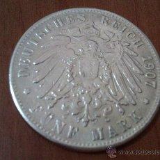 Reproducciones billetes y monedas: ANTIGUA MONEDA DE FÜNF MARK DEUTSCHES REICH ALEMANIA 1907 ENCONTRADA EN UN DESVAN. Lote 58842711