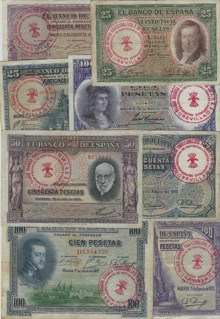 LOTE 8 BILLETES 25,50,100 PESETAS 1925/1935 RESELLO FALANGE ESPAÑOLA SEVILLA JONS (Numismática - Reproducciones)