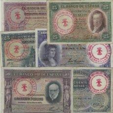 Reproducciones billetes y monedas: LOTE 8 BILLETES 25,50,100 PESETAS 1925/1935 RESELLO FALANGE ESPAÑOLA SEVILLA JONS. Lote 122828231