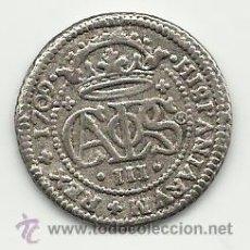 Reproducciones billetes y monedas: 2 REALES DEL ARCHIDUQUE CARLOS DE 1709 ESPAÑA REPRODUCCION. Lote 74929103