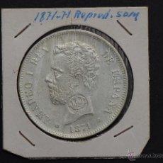 Reproducciones billetes y monedas: MONEDA DE PLATA DE 5 PESETAS DE AMADEO I -SD.M.- REPRODUCCION- 1871*71. Lote 45706539