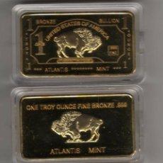 Reproducciones billetes y monedas: ESTADOS UNIDOS, LINGOTE CON ORO 24 KTES. BISONTE LIQUIDACION. Lote 104912644