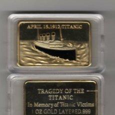 Reproducciones billetes y monedas: LINGOTE CON ORO DE 24 KTES. TITANIC LIQUIDACION. Lote 104283322
