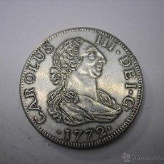 Reproducciones billetes y monedas: REPRODUCCION EN METAL DE 8 REALES DE 1772CF. SEVILLA. REY CARLOS III. Lote 47847756