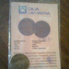 Reproducciones billetes y monedas: ESTADO ESPAÑOL - MONEDA 1 PESETA 1944 - FACSIMIL EDIT. EL DIARIO MONTAÑÉS. Lote 46358358