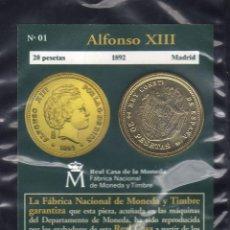 Reproducciones billetes y monedas: REPRODUCCIÓN MONEDA 20 PESETAS (1892 - ALFONSO XIII - MADRID) DE LA COLECCIÓN EL PAÍS. Lote 140965378