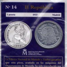 Reproducciones billetes y monedas: REPRODUCCIÓN MONEDA 1 PESETA (1933 - II REPÚBLICA - MADRID) DE LA COLECCIÓN EL PAÍS. Lote 46745364