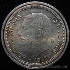 Reproducciones billetes y monedas: MONEDA REPRODUCCION ALFONSO XII (R-2). Lote 46883804
