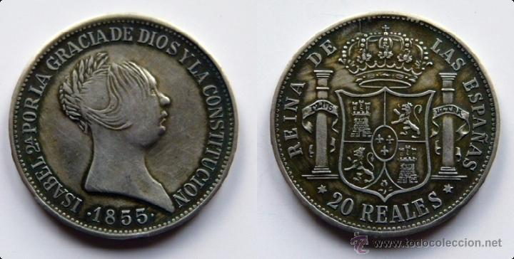 ISABEL II 20 REALES MADRID 1855 (Numismática - Reproducciones)