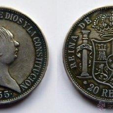 Reproducciones billetes y monedas: ISABEL II 20 REALES MADRID 1855. Lote 52851608