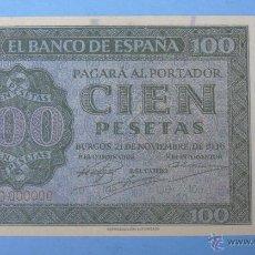 Reproducciones billetes y monedas: BILLETE FACSÍMIL DE ESPAÑA. SERIE BILLETES DEL FRANQUISMO. 100 PESETAS. BURGOS 21 NOVIEMBRE 1936. Lote 128619779