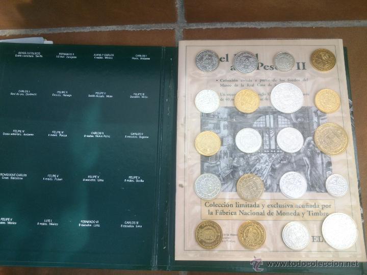 Reproducciones billetes y monedas: Colección Del Real a la Peseta, álbum II, de la F.N.M.T. 40 piezas Bañadas de oro y plata puros, - Foto 2 - 48637260