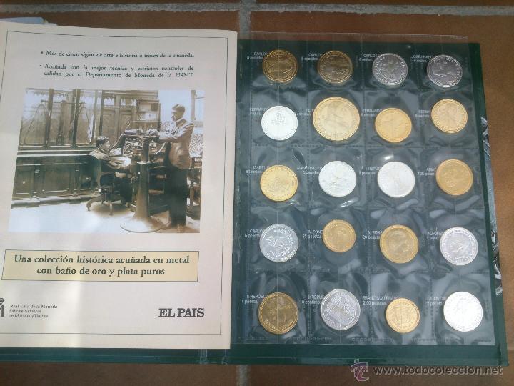 Reproducciones billetes y monedas: Colección Del Real a la Peseta, álbum II, de la F.N.M.T. 40 piezas Bañadas de oro y plata puros, - Foto 3 - 48637260