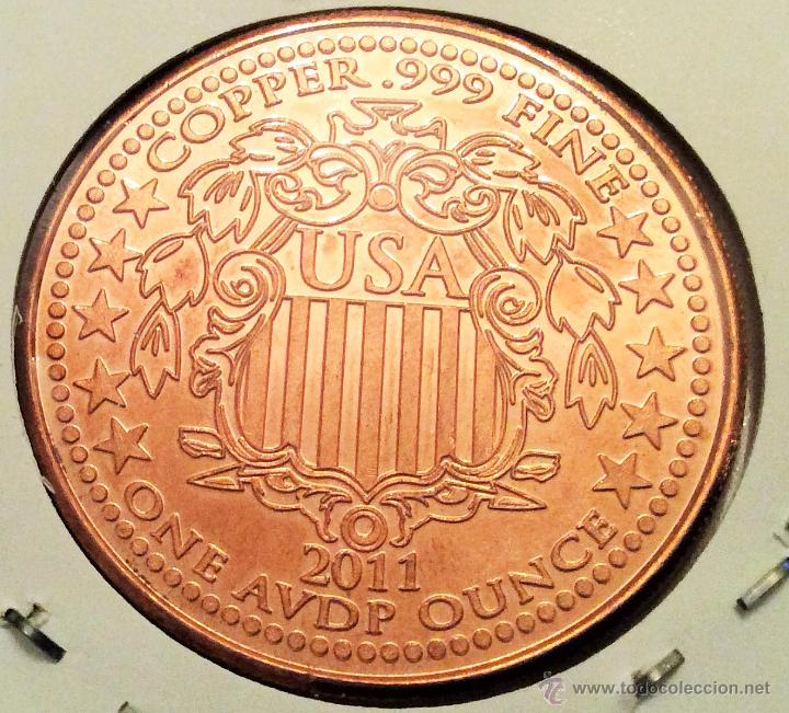 Reproducciones billetes y monedas: moneda conmemorativa liberty estados unidos réplica. bronce. - Foto 2 - 48676546