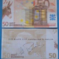 Reproducciones billetes y monedas: BILLETE FACSÍMIL DE 50 EUROS. HOT BURRITO. BURRO ASNO. Lote 49193868