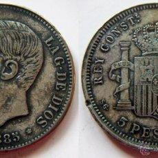Reproducciones billetes y monedas: REPRODUCCION DE UNA MONEDA DE ALFONSO XII 5 PESETAS 1885. Lote 49155724