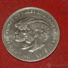 Reproducciones billetes y monedas: MONEDA ELIZABETH II -H.R.H. THE PRINCE OF WALES AND LADY DIANA SPENSER 1981 EBC+. Lote 49304337