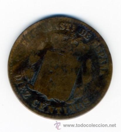 Reproducciones billetes y monedas: REPRODUCCION MONEDA ALFONSO XII - DIEZ CENTIMOS - 1879 - 3 CM DIAMETRO - Foto 2 - 49609001