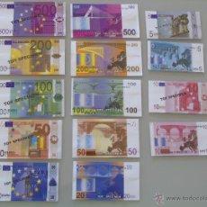 Reproducciones billetes y monedas: LOTE DE BILLETES FACSÍMIL DE 5 10 20 50 100 200 Y 500 EUROS. BILLETE EURO.. Lote 110205579