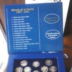 Reproducciones billetes y monedas: HISTORIA DE LA PESETA 1869 – 2002, 15 MONEDAS DE PLATA. Lote 50538650