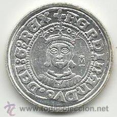 Reproducciones billetes y monedas: MONEDA DE FERNANDO II DE ARAGON 1/2 REAL ZARAGOZA PLATEADA REPRODUCCION VER FOTOS. Lote 50559210