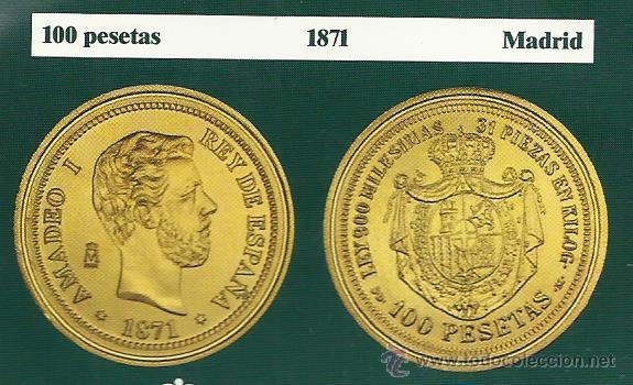 Reproducciones billetes y monedas: MONEDA DE AMADEO I 100 PESETASDE 1871 DORADA REPRODUCCION VER FOTOS - Foto 2 - 50559310