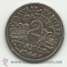 Reproducciones billetes y monedas: MONEDA SEGUNDA GUERRA MUNDIAL DE LA FRANCIA DE VICHY 1944 2 FRANCOS MIDE 27 MM. REPRODUCCION. Lote 50561523