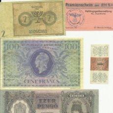 Reproducciones billetes y monedas: COLECCION DE BILLETES Y BONO DE CAMPO DE CONCENTRACION PAISES DE LA II GUERRA MUNDIAL REPRODUCCION. Lote 158508229