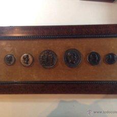 Reproducciones billetes y monedas: CUADRO EXPOSITOR DE 6 REPLICAS DE MEDALLONES CONMEMORATIVOS AUSTRIACOS ENMARCADO LUJO. Lote 50946435