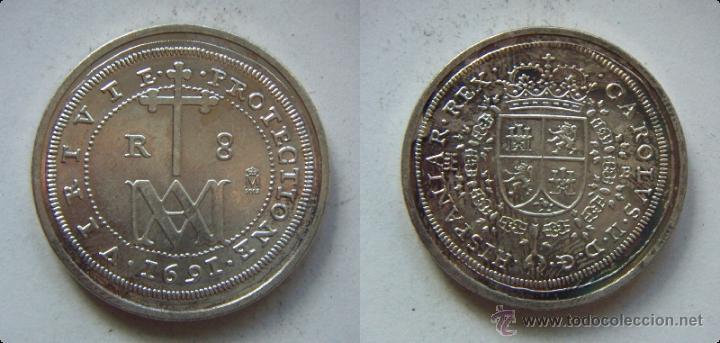CARLOS II 1691 8 REALES REPRODUCCION DE LA FNMT BAÑO DE PLATA (Numismática - Reproducciones)