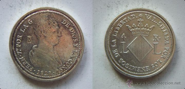 FERNANDO VII 4 REALES 1823 REPRODUCCION DE LA FNMT BAÑO DE PLATA (Numismática - Reproducciones)