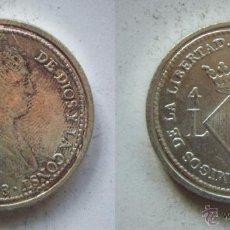 Reproducciones billetes y monedas: FERNANDO VII 4 REALES 1823 REPRODUCCION DE LA FNMT BAÑO DE PLATA. Lote 51797316