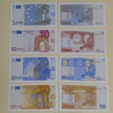 Reproducciones billetes y monedas: LOTE SERIE COMPLETA DE 7 BILLETES FACSÍMIL DE 5 10 20 50 100 200 500 EUROS.. Lote 134179857