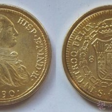 Reproducciones billetes y monedas: CARLOS IV 8 ESCUDOS 1790 REPRODUCCION DE LA FNMT BAÑO DE ORO. Lote 51802054